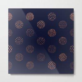 Rose Gold Detailed Dots Pattern Metal Print
