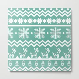 Classic Christmas sweater pattern with deers, pine trees and snowflakes in turquoise and white Metal Print