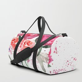 Abstract Watercolor Red Roses Duffle Bag