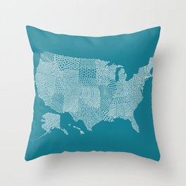 Patterned States of America Throw Pillow