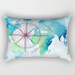 Watercolor map Rectangular Pillow