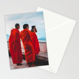 • East Meets West • Monks Taking Photos With I Phone Stationery Cards