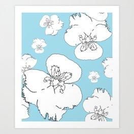 Blue Pansies Art Print