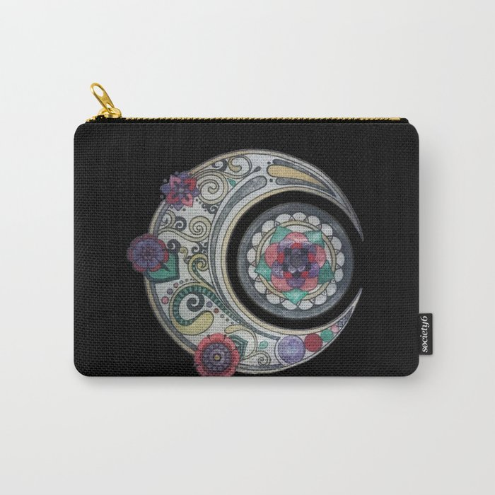Spiral floral moon Carry-All Pouch