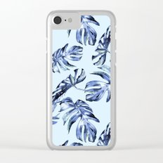 Tropical Palm Leaves Blue Clear iPhone Case
