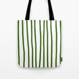 Simply Drawn Vertical Stripes in Jungle Green Tote Bag