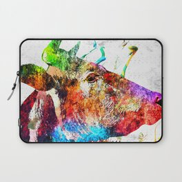 Cow Profile Watercolor Grunge Laptop Sleeve
