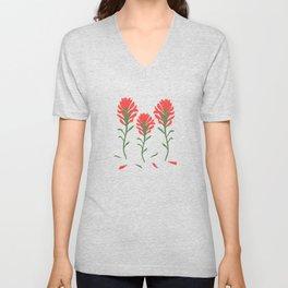 Lipstick Red Wildflowers on Indigo Unisex V-Neck