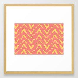 Modern Brush Stroke Chevrons - Coral & Yellow Framed Art Print