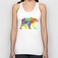 geometric Tank Tops featuring Fractal Geometric bear by Picomodi