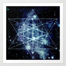 Galaxy Sacred Geometry Flower of Life Ocean Blue Art Print