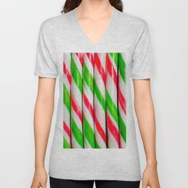 Red and Green Candy Canes Real Candy Stripes Unisex V-Neck