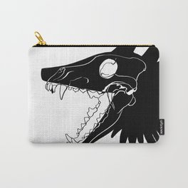 Wolf Skull on White Carry-All Pouch