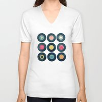vinyl V-neck T-shirts featuring Vinyl Collection by Cassia Beck