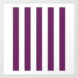 Byzantium violet - solid color - white vertical lines pattern Art Print