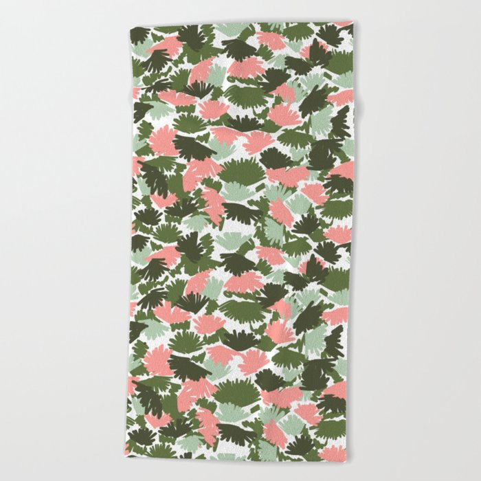 Flowers pastel pink painting watercolor abstract minimal gender neutral florals nursery baby kids Beach Towel