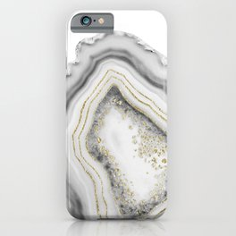 White Agate Gold Foil Glam #1 #gem #decor #art #society6 iPhone Case