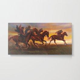 American Natives Riding On Horses Metal Print