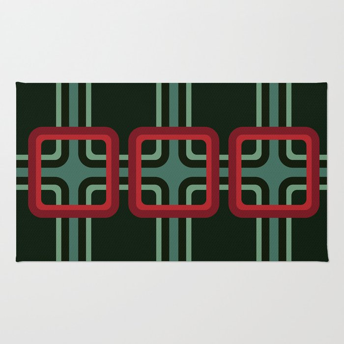 Geometric Pattern #69 (red & turquoise 1970s) Rug