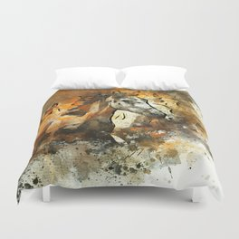 Watercolor Galloping Horses On Raw Canvas | Splatter Painting Duvet Cover