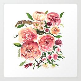 Peony Bouquet Floral Watercolor Illustration Art Print