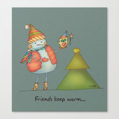 Friends keep warm - greyish Canvas Print
