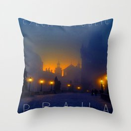 Prague, vintage poster Throw Pillow