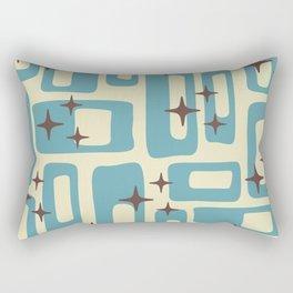 Retro Mid Century Modern Abstract Pattern 577 Blue Brown Rectangular Pillow