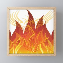 Red and Golden Phoenix Rising From The Flames Framed Mini Art Print