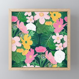 Stylish exotic floral and foliage design Framed Mini Art Print