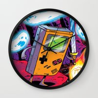 gameboy Wall Clocks featuring The Legend of Gameboy by thechrishaley