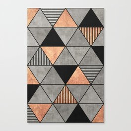 Concrete and Copper Triangles 2 Canvas Print