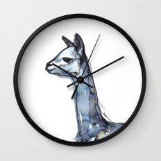 Vicuna Watercolor Sketch Wall Clock