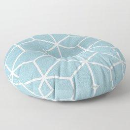 Light Blue and White - Geometric Textured Cube Design Floor Pillow