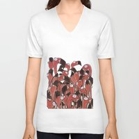 flamingos V-neck T-shirts featuring Flamingos by Ollie Bright Art