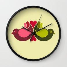 Olive Rosebirds Wall Clock