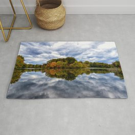 Stormy Autumn Reflections on Pond Rural Landscape Photograph Rug
