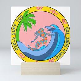 Girls Surf Too solid Mini Art Print