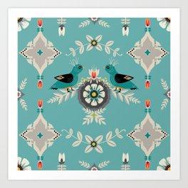 Scandi Bird Floral Turquoise Art Print