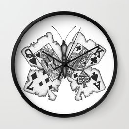 Playcards butterfly Wall Clock