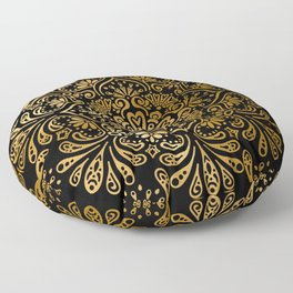 Sophisticated Black and Gold Art Deco Pattern Floor Pillow
