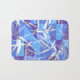 Bamboo in Blue Geometric Pattern Bath Mat