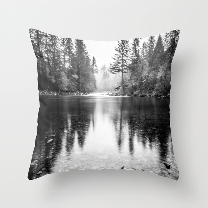 Forest Reflection Lake - Black and White  - Nature Photography Throw Pillow
