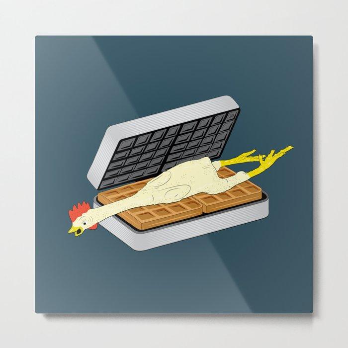 Rubber Chicken & Waffles Metal Print