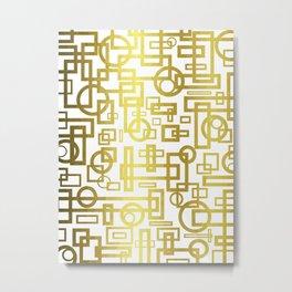 Gold Overlap Geometric Metal Print