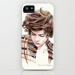 H plaid watercolors iPhone Case