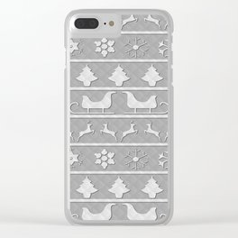 Christmas Silver & White Nordic Knit Ugly Christmas Sweater Clear iPhone Case