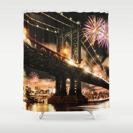 manhattan bridge with fireworks Shower Curtain