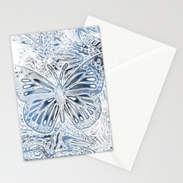 Monarch Butterfly in Pastel Blue Stationery Cards