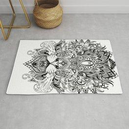 Black And White Geometric pattern mandala lion face Rug